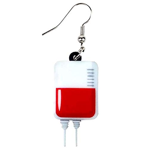 (E) 輸血パック リアルステンレスピアス フックピアス レディース 1個販売 片耳 シングルピアス サージカルステンレス 病院 血 血液 献血 ハロウィン イヤリング