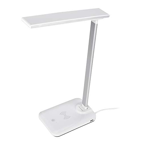Lámpara de escritorio LED con cargador inalámbrico, puerto de carga USB D12, mesa giratoria de 135 °, lámpara de escritorio antideslizante de 34 cm, para sala de estar, oficina