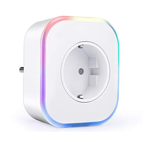 Enchufe Inteligente Wifi, ARINO Enchufes Inalámbricos Inteligentes con USB, Control Remoto/Mando de Voz, Temporizador, Luces de Ambiente Colorido, Compatible con Google Home/Amazon Alexa/Android/IOS