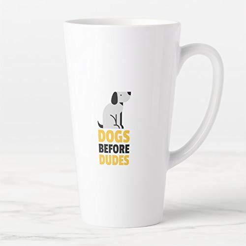 Kaffeetasse, Kaffeebecher, Hunde vor Dudes Latte Tasse, Keramik Latte Reisebecher mit Deckel und Löffel, Teetasse