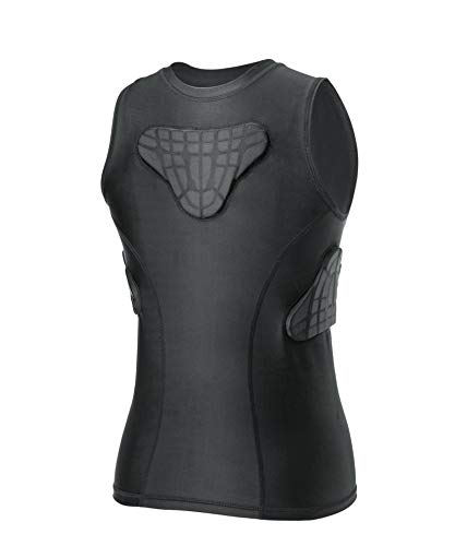 TUOY Youth Padded Shirt Chest Rib Protector Heart Guard Sternum Protective Compression Shirt for Baseball Football Basketball Lacrosse