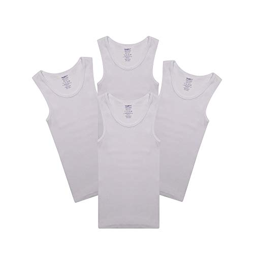 Camisetas sin Mangas para Niños 100% Algodón Blanca con Cuello Redondo (Paquete de 4) DE Buyless Fashion-TW14-BW|Talla: 9-10 Años