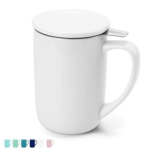 Sweese 203.101 Teetasse mit Deckel und Sieb, Tee tassen Porzellan für Losen Tee Oder Beutel, Weiß, 450 ml
