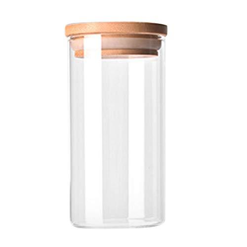 Ballylelly Vidrio Transparente de Alto borosilicato Almacenamiento en la Cocina Botella Tienda Ingrediente alimentario Caramelo Galleta Almacenamiento Tarro Organización