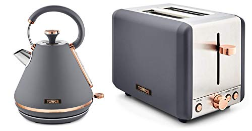 Tower Cavaletto 1.7L 3000W Pyramid Kettle and 2 Slice Toaster Grey & Rose Gold