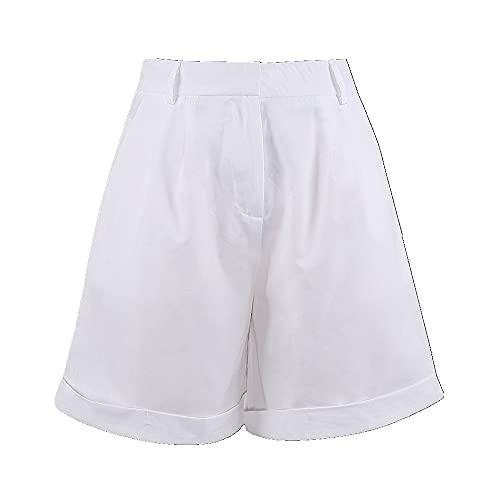 N\P Pantalones cortos de traje para mujer, pierna recta, cintura media, con bolsillos de botón con cremallera