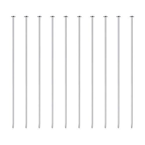 BENECREAT 20 PCS Alfiler de 925 Plata Esterlina Pin de Cabeza Plana para Manualidad de Joyería DIY Hacer Aretes Pulseras Collares Cadenas 40x0.5mm