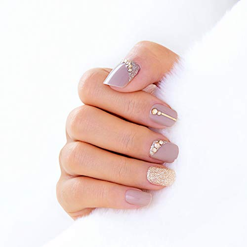 Lily Lemons Premium Salon Press On Nails 30 pcs Short Oval Round Squoval Design, Comfortable Fit, Gel Glossy Beige Gold Glitter Nail Art, Handcrafted Gemstones, Fake Nails False Nails Stick On Nails