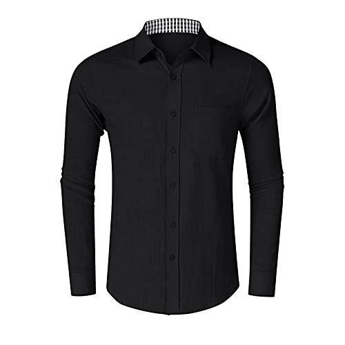 Camisa de Manga Larga con Solapa para Hombre, Estampado a Cuadros a la Moda, cómodo, versátil, Informal,...