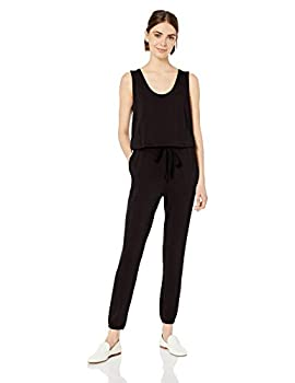 Daily Ritual Women s Supersoft Terry Relaxed-Fit Sleeveless Jumpsuit Black,Large