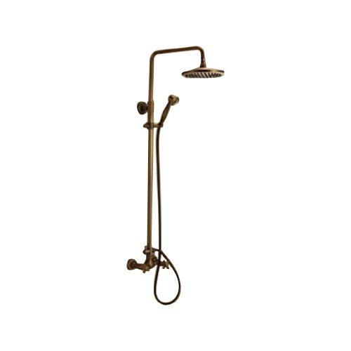 Rozinsanitary - Miscelatore per doccia con rubinetto e soffione da 20,32 cm + doccetta, finitura in ottone anticato