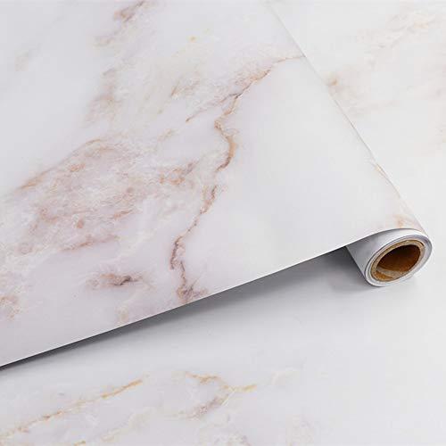 Hode Möbelfolie Marmor Folie Selbstklebende Klebefolie für Möbel Tür Wand DIY Dekorfolie Vinyl Wasserdicht 40X300cm