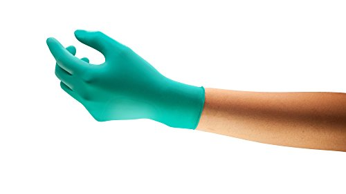 Ansell TouchNTuff 92-600 Nitrile Lightweight Glove with Beaded Cuff, Chemical/Splash Resistance, Powder Free, 4.7mil Thickness, 240mm Length, Size 9, Green (Box of 100)