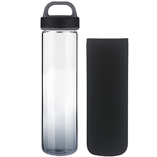 Life4u Botella de Agua de Cristal de Borosilicato Botella de Agua de Vidrio Sin BPA 1000 ml / 1 litro (Negro)
