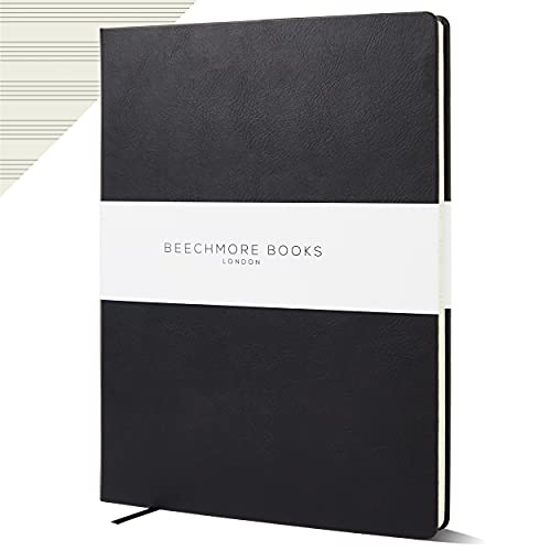 Beechmore Books - Cuaderno de papel personalizado con manuscrito, tamaño A4, 10 personales, de piel vegana, 120 g/m², papel crema, 21 x 29,7 cm, color negro