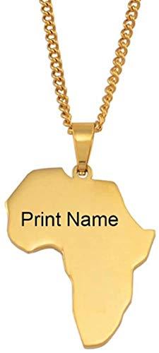 YZXYZH Collar Personalizar Nombre Mapa De África Collares Mujeres Niñas Color Dorado Acero Inoxidable Texto Personalizado Orgulloso Ornamento Africano