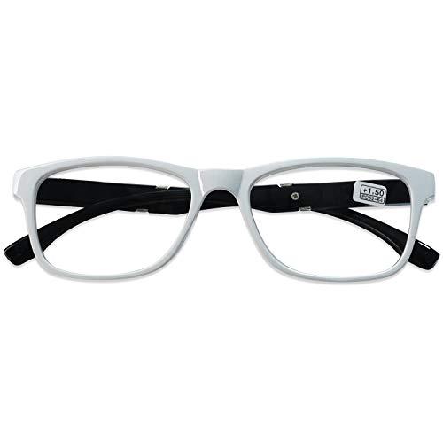 KOOSUFA Lesebrille Herren Damen Retro Lesehilfen Sehhilfe Federscharniere Rechteckige Vollrandbrille Arbeitsplatzbrille UV Schutz Anti Müdigkeit Brille 1.0 1.5 2.0 2.5 3.0 3.5 4.0 (Weiß, 2.0)