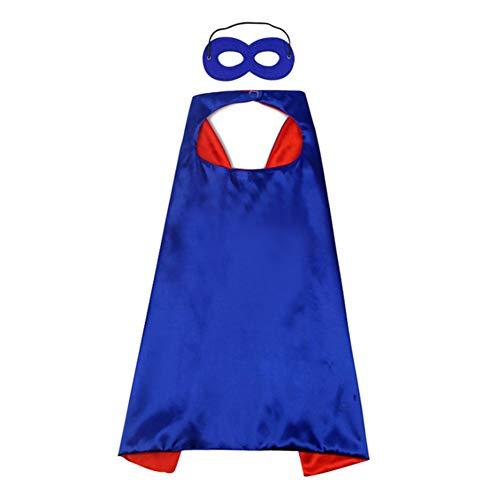Proumhang Superhéroes Infantiles Capas de satén de Doble Cara para Disfraces Día del niño Carnaval de Halloween Fiesta de cumpleaños Navidad-Azul