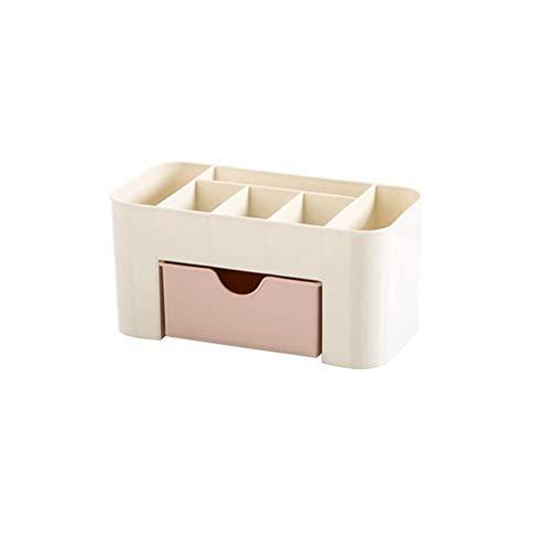 Organizador de maquillaje, organizador de brochas de maquillaje, cajón de escritorio, varias cajas de almacenamiento de plástico, organizador de cosméticos, contenedor de baño (color rosa