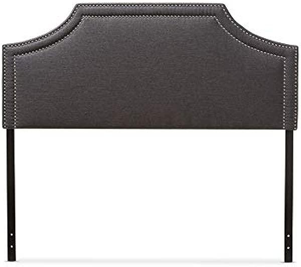Baxton Studio Avignon Upholstered King Headboard In Dark Gray