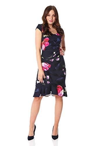 Roman Originals Vestido de mujer con estampado floral con volantes y dobladillo...