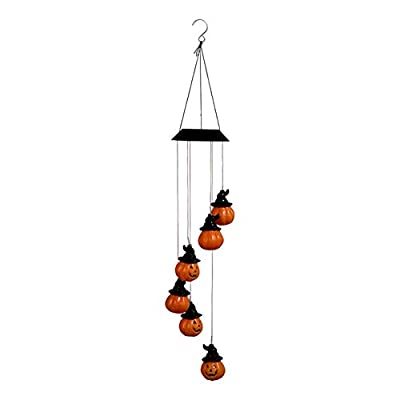 Solar Hummingbird Wind Chime Outdoor Indoor, Pumpkin Led Solar Power Wind Chime Light, Colorful Decorative Mobile Hanging Wind Chime Personalized for Home, Patio, Garden, Yad, Porch, Window