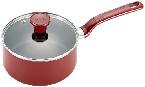 T-fal C51424 Excite Nonstick Thermo-Spot Dishwasher Safe Oven Safe PFOA Free Covered Sauce Pan Cookware, 3-Quart, Red