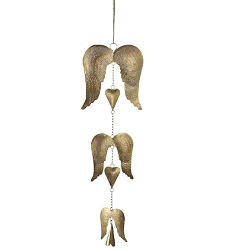 Midwest CBK 24' Hanging Angel Wings with Hearts & Bell Wind chime