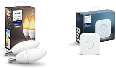 Philips Hue 2 Bombilla Inteligente VelaLED E14 + Philips Hue Puente de Conexión Controlable vía WiFi
