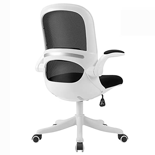 zdz Silla de Oficina ergonómica de Malla con Soporte de polea, Silla de Escritorio Ajustable de Espalda Alta con reposabrazos, para Oficina, Dormitorio, hogar (Color : White+Black)