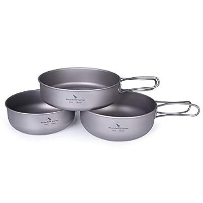 iBasingo 3-Piece Set Titanium Bowl Set Outdoor Camping Pan Cookware Pot with Folding-handl Picnic Dishes Cooking Travel Utensils Ti1571I