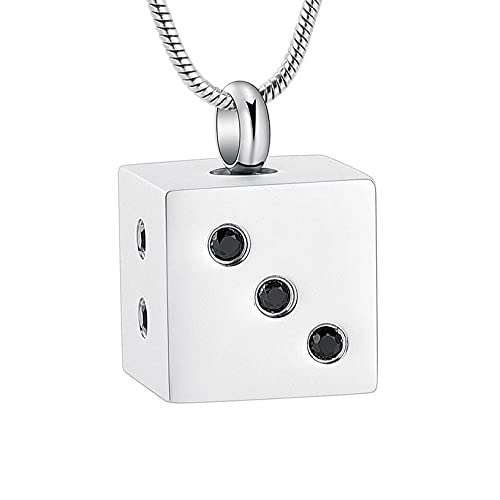 PicZhiwenture Dice Cube Urn Necklace for Ashes Holder Ashes Locket for Human Ashes Pet Ashes