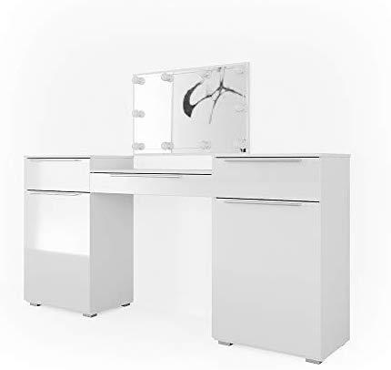 Vicco Schminktisch Lilli Frisiertisch Kommode Frisierkommode Spiegel Weiß inklusive LED-Lichterkette