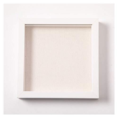 Muzilife 3D Bilderrahmen zum Befüllen 20x20cm Tiefe Box Objektrahmen mit Glasscheibe 1 Stück Weiß