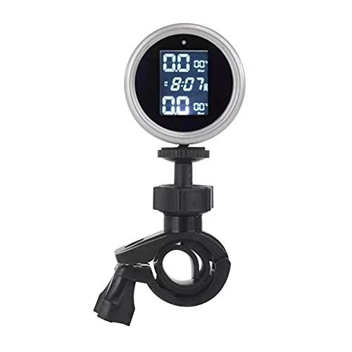 Funien Sistema de monitoreo de presion en Llantas, Sistema de monitoreo de presión de neumáticos de Motocicleta Sensor Externo Solar TPMS inalámbrico Pantalla LCD Lectura de presión de neumáticos de