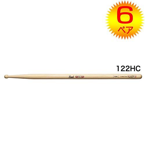 【6ペア】Pearl パール 122HC ヒッコリー ドラムスティック クリアラッカーフィニッシュ [14x389]