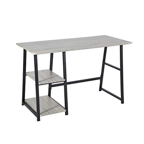 FITATHOME - Escritorio de ordenador con estantes para oficina en casa, mesa de estudio de escritura, estilo moderno de madera