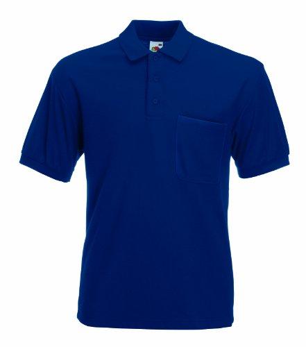Fruit of the Loom Polo maille piquée à manches courtes et poche pour homme - Bleu - Taille Unique