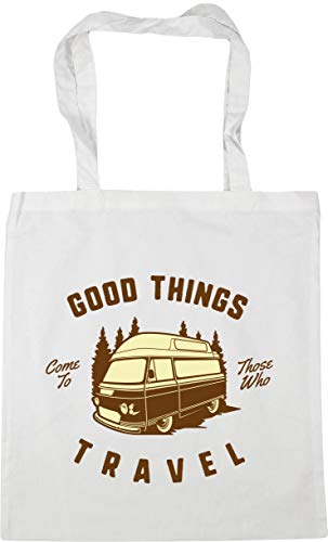 Hippowarehouse Good Things Come to Those Who Travel Tote Shopping Gym Beach Bag 42cm x38cm, 10 litres