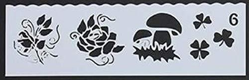Boutique d'isacrea Iisacrea-Schablone, Kunststoff, 19 x 6 cm, Kleeblatt, Pilz und Blumen
