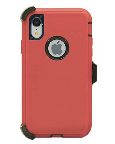 Hande Muscle Series - Funda con clip para cinturón para iPhone XR (6,1 pulgadas), triple capa, resistente, funda protectora con funda y función atril, a prueba de golpes, color rojo y negro