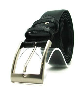 Design Spagnolo Cintura da uomo in pelle nera con tasca interna a zip segreta - Money Belt - Fatto a mano da artigiani in Spagna - Perfetta per viaggi - Large (W38-W42) / Lunghezza Utile 100-110cm