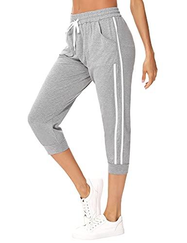 Sykooria Damen 3/4 Jogginghose Trainingshose High Waist Sporthose Yoga Hosen Freizeithose Sweathose Baumwolle für Laufen Yoga Fitness, C-Grau L