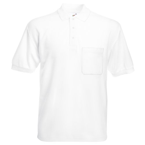 Fruit of the Loom 65/35 Polo, Blanc (weiß 30), M Homme