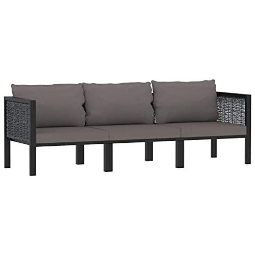 vidaXL Sofa 3-Sitzer mit Auflage Gartensofa Lounge Gartenbank Gartenmöbel Sitzgruppe Ecksofa Mittelsofa Garnitur Couch Anthrazit Poly Rattan