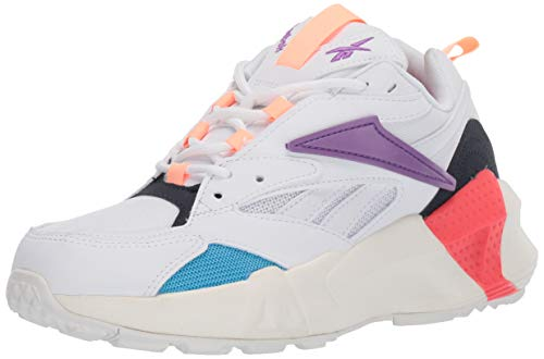 Reebok Women's Aztrek Double Mix Pops Running Shoe, White/Grape Punch/Bright, 9.5 M US