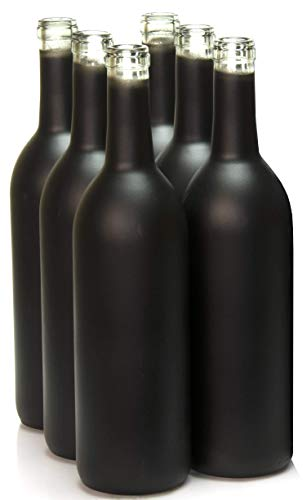 North Mountain Supply 750ml Glass Bordeaux Wine Bottle Flat-Bottomed Cork Finish - Case of 6 (Black Frosted)