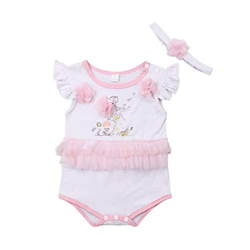 Gaono conjunto de roupas infantis rompers para bebês meninas sem mangas com babados e camiseta calça curta com estampa de conjunto de roupas (70(0-6 Meses))