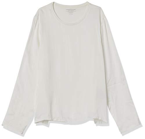 Majestic Filatures Women's Cotton/Cashmere Long Sleeve Crew Neck with Silk Yoke, Blanc Lait, 1