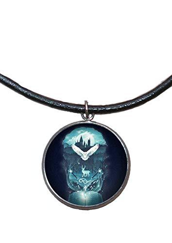 Stainless Steel Pendant, 30mm, Leather Cord, Handmade, Illustration Hogwarts